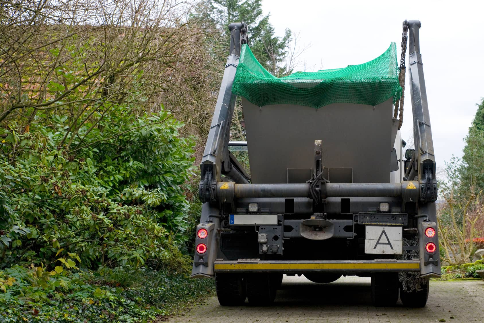 lorry with skip on the back